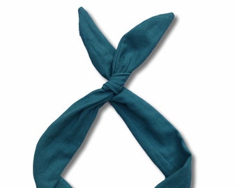 Teal Linen Wire Headband