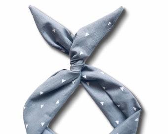 Gray with White Triangles Wire Headband- Top Knot Headband, Turban Headband, Turban Boho Headband, Yoga Headband, Boho Turban, Head Wrap