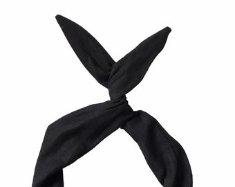Black Linen Wire Headband