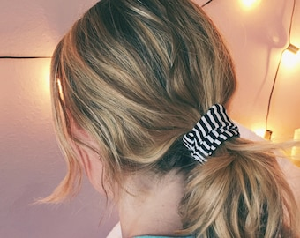 Black and White Stripe Ponytail Twist