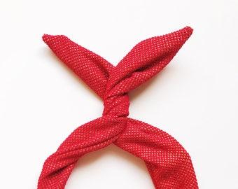 Red and Gold Glitter Wire Headband- Headband Turban Boho, Twist Scarf, Headwrap, Hair Turban, Red Headband, Nonslip Headband, Holiday