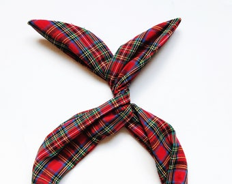 Red Plaid Tartan Wire Headband