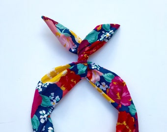 Navy Floral Print Wire Headband