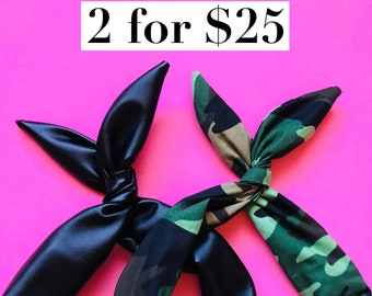 Black Pleather and Camo Print Wire headbands- Set of 2