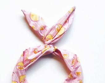 Lemon Print Wire Headband- Wide Headband Boho, Turban, Pink Lemonade Headband, Nonslip Headband, Twist Scarf, Dolly Bow, Kids Headband,