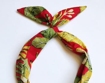 Red with Banana Leaf Wire Headband by Byrd