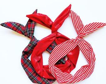 Set of 3, Red Wire Headbands- Red Stripe Headband, Plaid Tartan Headband, Metallic Red Hair Wrap, Hair Turban, Twist Scarf, Gift for Her