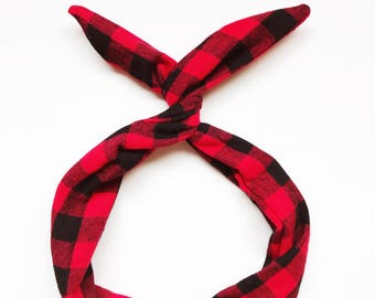 Red Buffalo Plaid Wire Headband