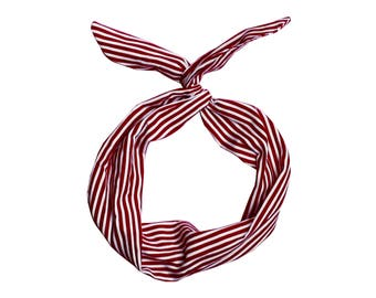 Red and White Stripe Wire Headband