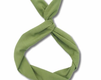 Olive Green Linen Wire Headband