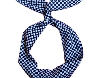Navy and White Polka Dots Wire Headband by Byrd