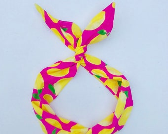 Hot Pink Lemon Wire Headband