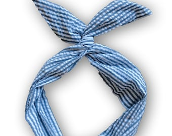 Blue Seersucker Wire Headband