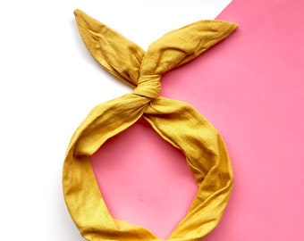 Yellow Linen Wire Headband