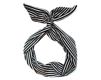 Black and White Stripe Wire Headband