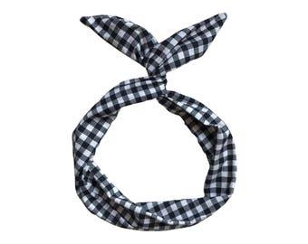 Black and White Gingham Wire Headband