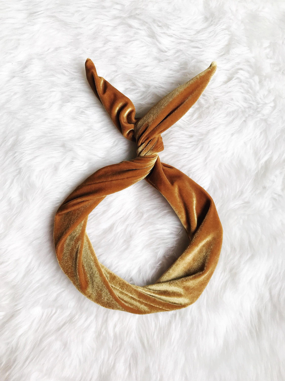 Gold Velvet Wire Headband- Headband Turban Boho 681699940a9