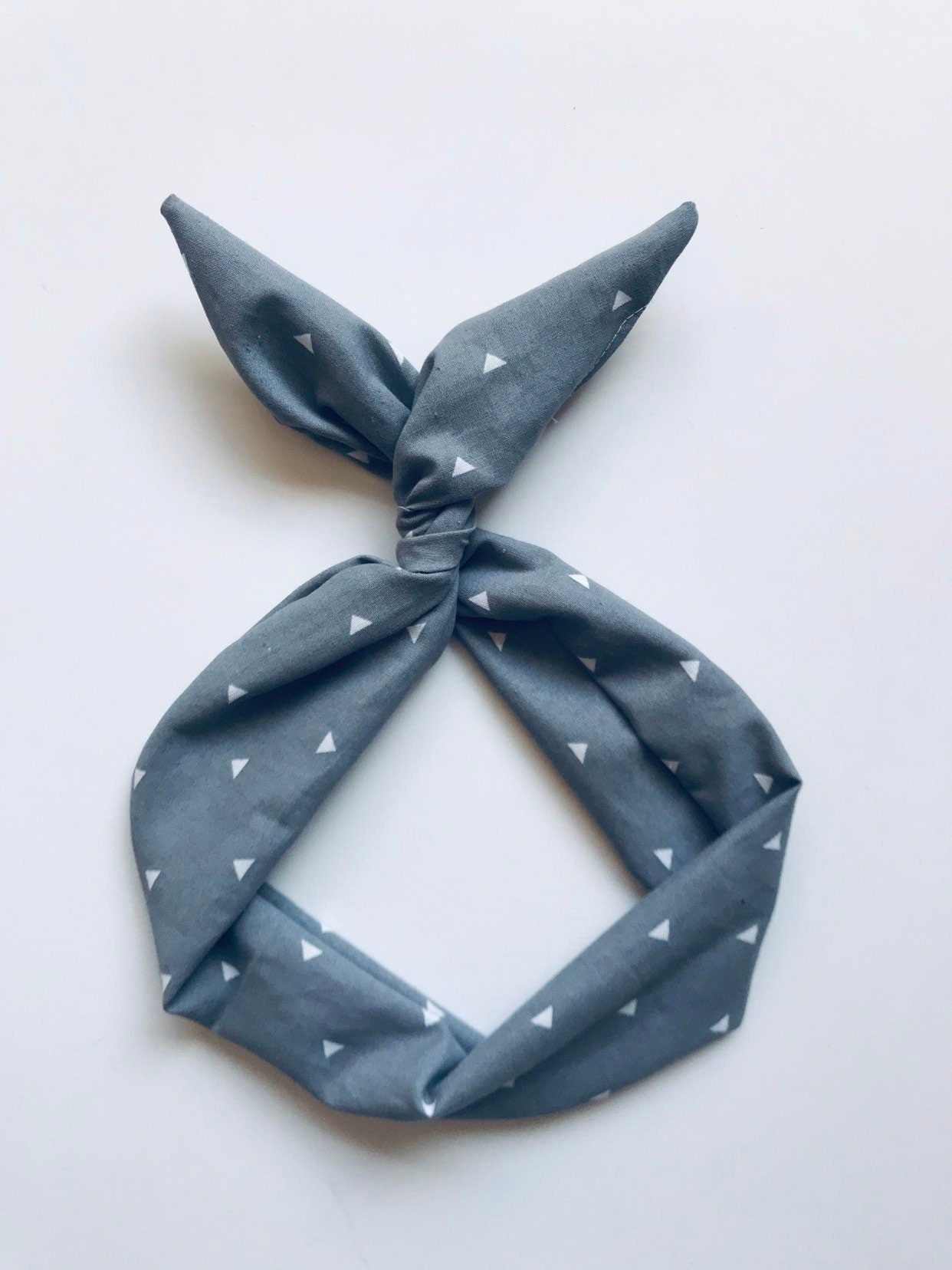 Gray with White Triangles Wire Headband- Top Knot Headband ... 38ae7777700