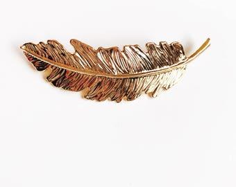 Gold Feather Barette