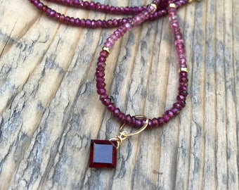 Garnet and Pink Tourmaline Necklace -Princess cut cherry red garnet pendant- Gold Filled- Energy Healing Gemstones- Boho-January Birthstone