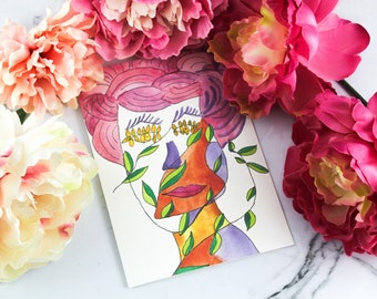 Set of 12 - Painted Lady blank greeting cards - watercolor art Illustration