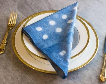 """Single Pattern - Shibori Tie-Dye Cotton Napkins - Set of 4 (""""Dots"""" pattern)"""