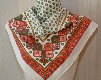 Vintage large cotton geometric print bandana