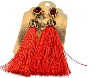 Tassel earrings, Long earrings, Red crystal dangle earrings, Boho earrings, Red statement earrings, Long Tassel earrings, Trendy jewelry