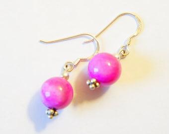 Handmade pink agatha silver sterling beaded earrings