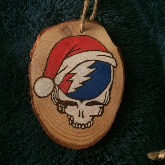 Grateful Dead Christmas Ornament.Hand Burned Grateful Dead Steal Your Face Christmas Ornament Double Sided