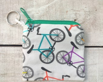BIKES square keychain coin zip purse, bicycle fabric, mini keychain purse, tiny money zip pouch, good friend gift, stocking stuffer