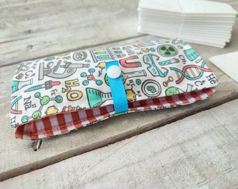 """TISSUE holder bag """"chemistry"""", handkerchief wallet, tissue case, tissue wallet, tissue pouch ecofriendly, stocking stuffer, gift under 10"""