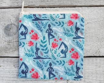 YOGINI squared zip pouch, yoga women coin purse with creamwhite zip, medium size, yoga nerd, yoga pilates teacher gift, zippered purse