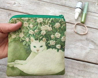 Square white cat under a bush zip pouch, coin purse, medium sized, cat painting, cat bag, catlover gift, giftidea catperson