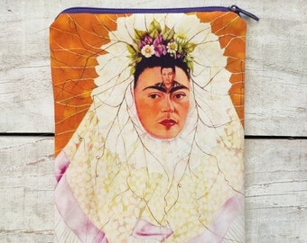FRIDA KAHLO selfportrait as Tehuana zip bag, zip case Frida with Diego in her thoughts *special edition bag*, zippered pouch