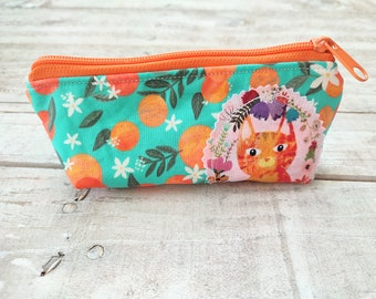 """Glasses Case """"orange cat"""", soft padded zippered fabric glass case, washable pouch for sunglasses, catlovers gift, red cat catslove"""