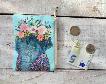 padded ELEPHANT with floral wreath zipper coin pouch, pachyderm purse, small handbag organizer Mia Charro Design Fabric bag girlfriend gift