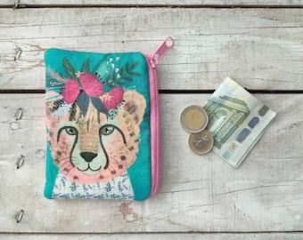 padded CHEETAH with floral wreath zipper coin pouch, animal purse, small handbag organizer Mia Charro Design Fabric bag girlfriend gift