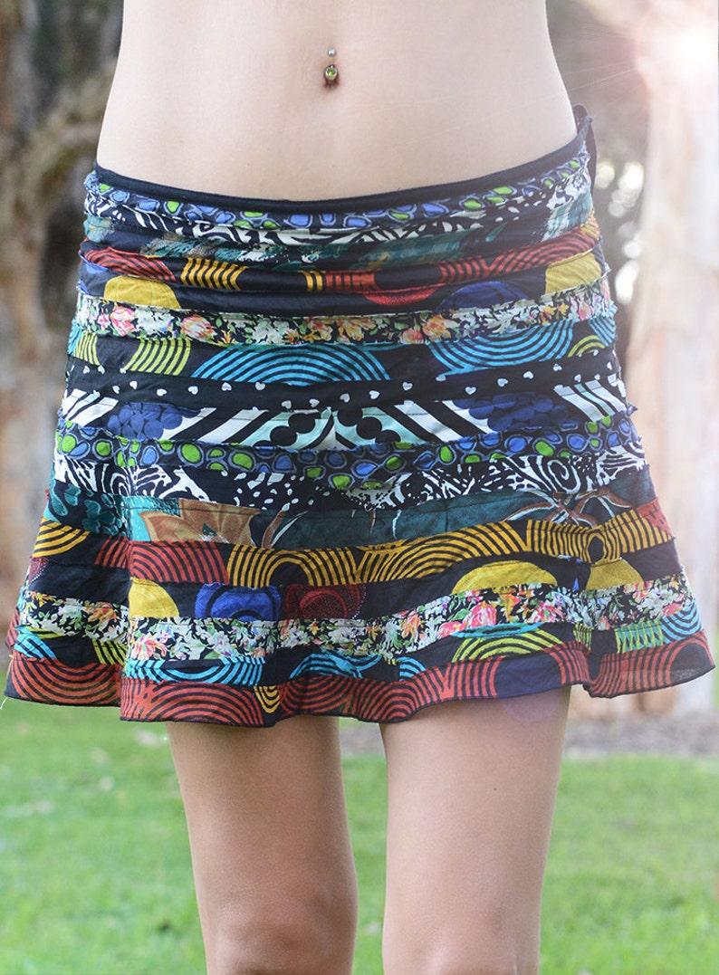 Mini Recycled Skirt Cotton Mini Skirt Handmade Skirt High image 0