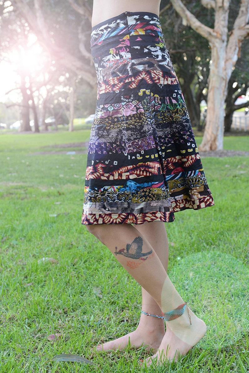Midi Recycled Skirt Cotton Midi Skirt Handmade Skirt image 0