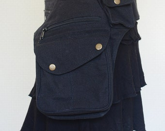 Stella One Sided Cotton Utility Belt, Festival Belt, Pocket Belt, Bum Bag, Hip Bag,Festival Fanny Pack