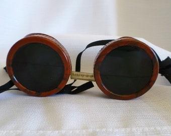 Antique Welding Bakelite Lightning Bolt Frames Green & Clear Glass Lenses Steampunk