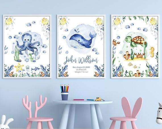 Nursery decor whale, Nursery decor octopus, Personalised nursery decor baby boy, Sea world nursery art, Nursery decor turtle, Baby room art