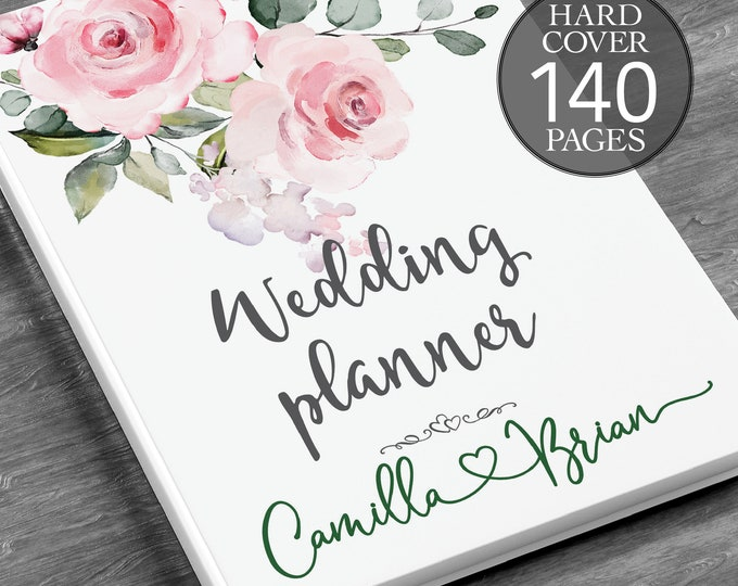 Baby pink wedding planner, Pink wedding planning book,  Boho floral planner, Engagement gift, Bridal shower gift, Wedding planner
