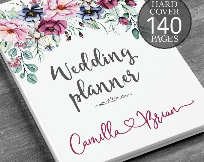Personalised wedding planner, Floral wedding planner, Bridal shower gift, Boho wedding planner, Peonies planner, Engagement gift