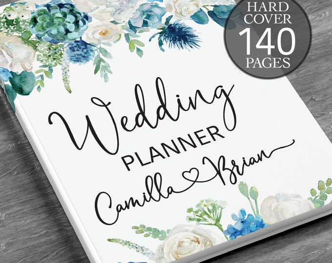 Winter wedding planner, Engagement gift, Blue greenery wedding book, Winter greenery binder, Bridal shower gift, Blue wedding planner