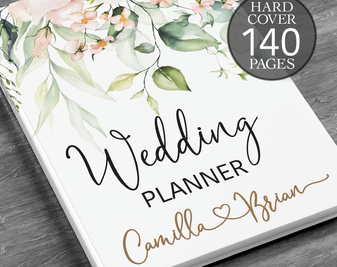 Wedding planner, Personalised wedding book, Printed wedding book, Greenery wedding planner,  Bridal shower gift, Hardcover wedding planner