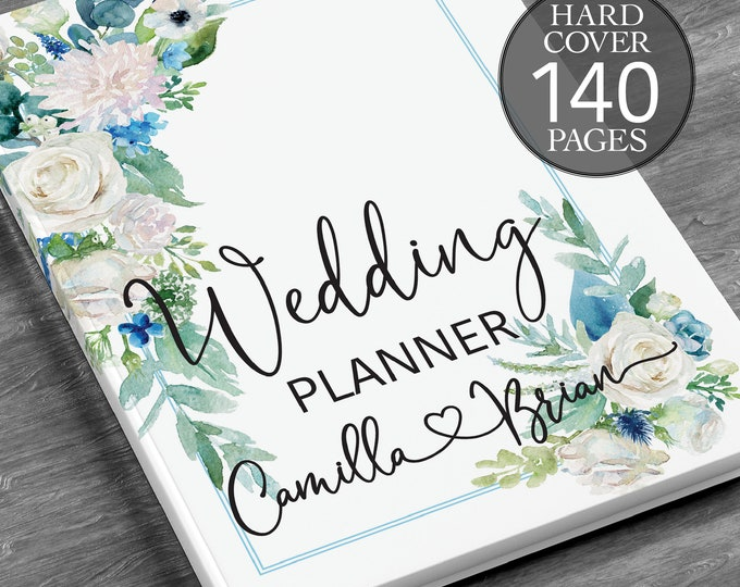 Blue greenery wedding planning book, Winter wedding planner, Winter greenery binder, Bridal shower gift, Engagement gift