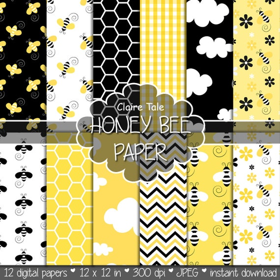 "Bee digital paper: ""HONEY BEE"" paper pack with honey bee / bumble bee, honeycomb, clouds, flowers, chevrons and gingham in yellow and black"