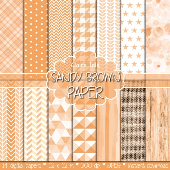 Sandy brown digital patterns, Sandy brown digital paper, Sandy brown background, Sandy brown scrapbooking paper, Sandy brown printable paper